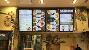 4x1 portrait orientation digital menu board installation