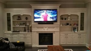 65 inch TV wall mounted on custom wall unit