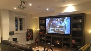 Home Theater Projector & Screen installed in basement with all wires hidden