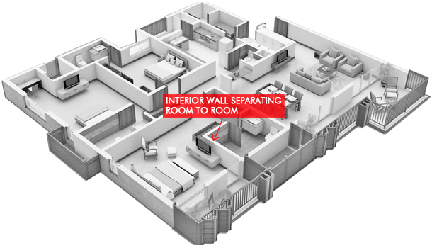 Interior Wall Separating Room to Room