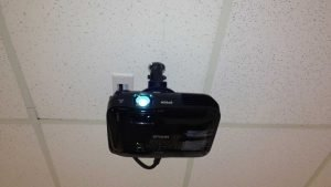 Office projector installation front view