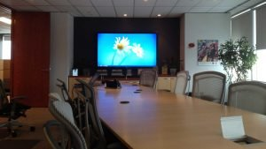 80 inch TV wall mounted in board room