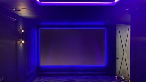 Projector screen with LED lit outer glow
