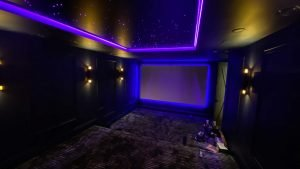 Installation of Home Theater Projector Screen with LED backlight
