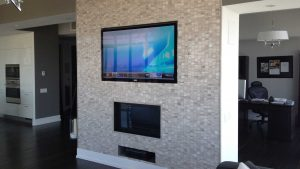 55 inch TV wall mounted into custom fitted wall