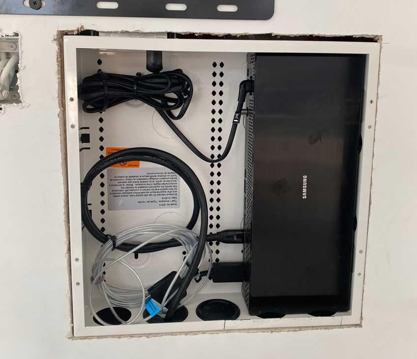 Samsung One Connect Box hidden inside AV Back Box for in-wall storage