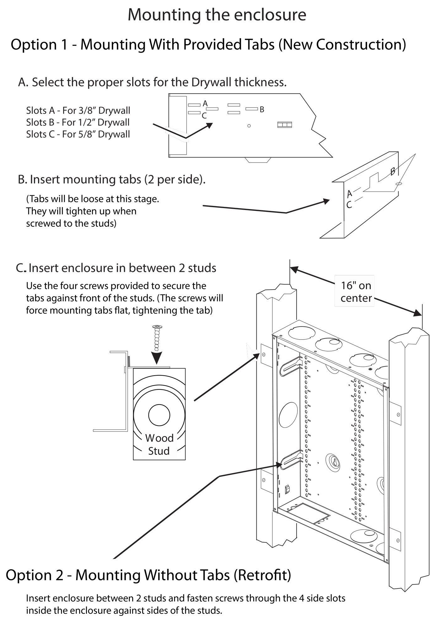 AV Back Box 18x14 mounting instruction