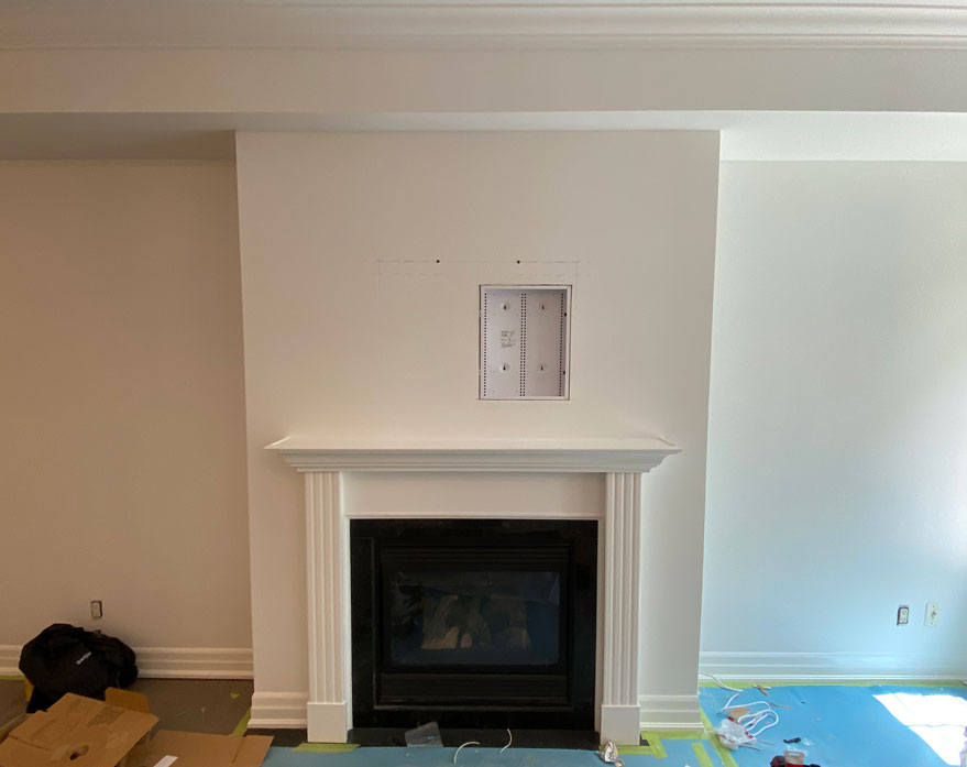 18x14 inch AV Back Box installed flush into the wall which will facilitate One Connect Box