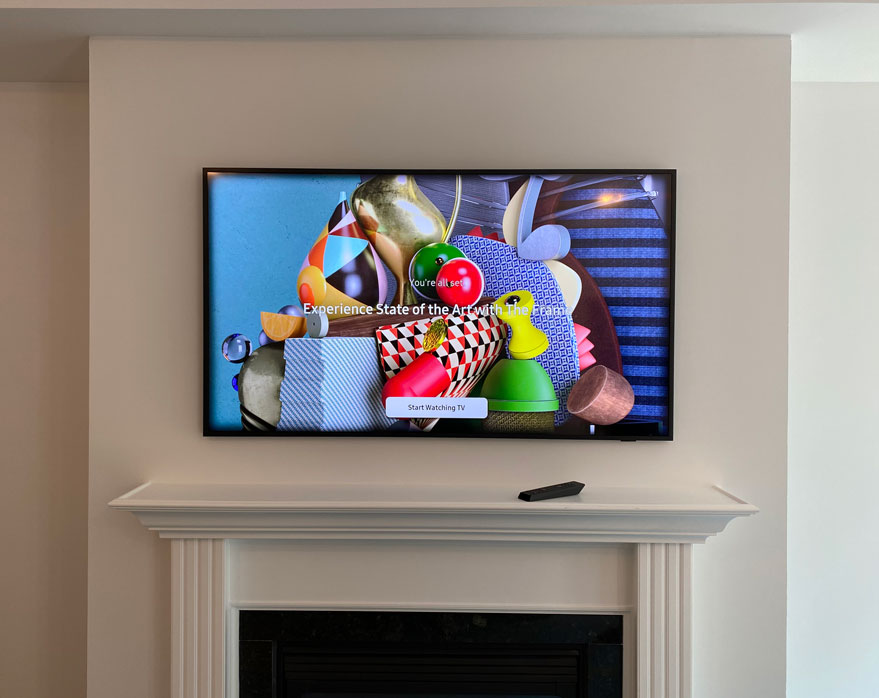 2021 Frame TV with One Connect Box & One Connect Cable Hidden out of sight