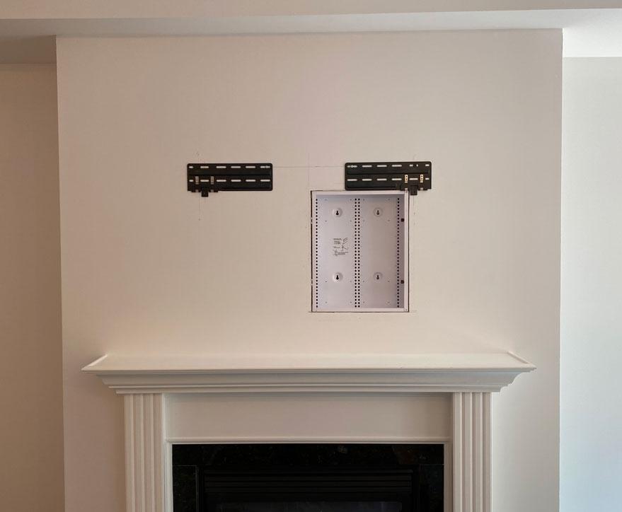 Slim Fit Wall Mount and AV Back Box Installed